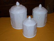 Milk Glass Canister Set Antique